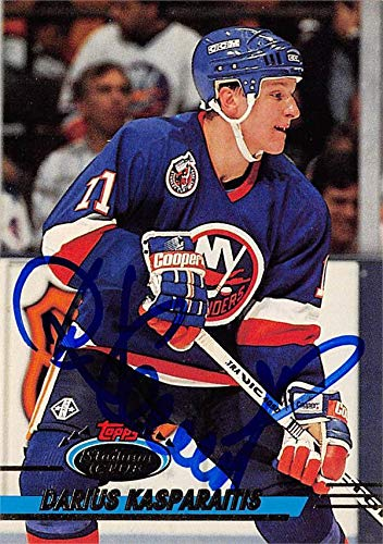 - Darius Kasparaitis autographed Hockey Card (New York Islanders, SC) 1993 Topps Stadium Club #101 - Hockey Slabbed Autographed Cards