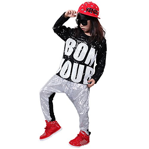 DREAMOWL Girls Boys Sequin Hip Hop Dance Costumes Ballroom Modern Jazz Clothing Top Pants(Silver, 10-12)]()