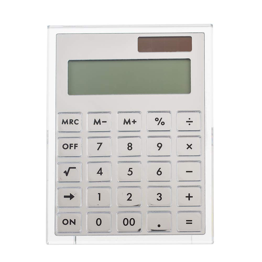 E&O Acrylic Calculator,Solar Power,12 Digits LCD Display,Modern Elegant Desk Accessory,Office Home Electronics,Business Present Ideas (Silver) by E&O