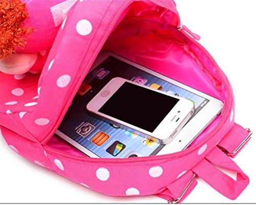 Swesy Kids Toddler Baby Girls Backpack Plush Toy Backpack Snack Bag Travel Bag 1-3 Years Rose Red