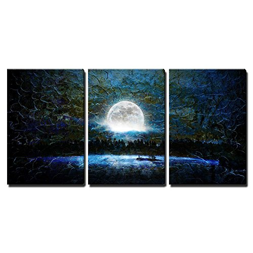wall26 3 Piece Canvas Wall Art - Glowing Full Moon Over a Blue Background