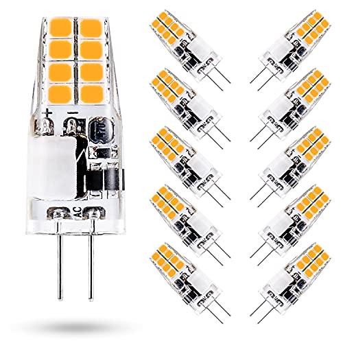 ONSTUY 3W G4 LED Lampen,3000K Warmweiss,Ersetzt 35W Halogenlampen,AC/DC 12V G4 LED Birnen,300 Lumen,Nicht Dimmbar,Kein Flackern Energiesparlampe,10er Pack