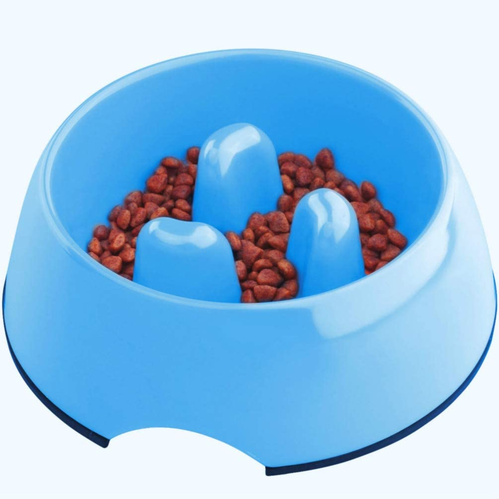 Super Design Anti-Gulping Dog Bowl Slow Feeder, Interactive Bloat Stop Pet Bowl for Fast Eaters 0.5 Cup Blue
