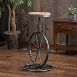 Globe House Products GHP 19'x21.25'x27.5' Decorative Adjustable Height Bicycle Wheel Industrial Bar Stool