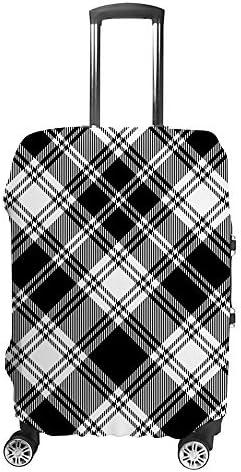 スーツケースカバー 格子縞 白黒 伸縮素材 キャリーバッグ お荷物カバ 保護 傷や汚れから守る ジッパー 水洗える 旅行 出張 S/M/L/XLサイズ