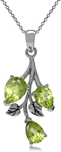 Natural Peridot 925 Sterling Silver Solitaire Pendant w// 18 Inch Chain Necklace
