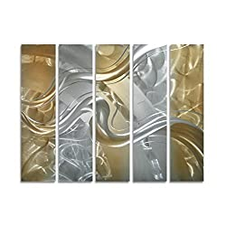 Pure Art Colour Flow - Silver and Bronze Abstract Metal Wall Art - Small Hanging Sculpture Set of 5 Panels - Modern Decoration of 34 x 24 Perfect for Livingroom