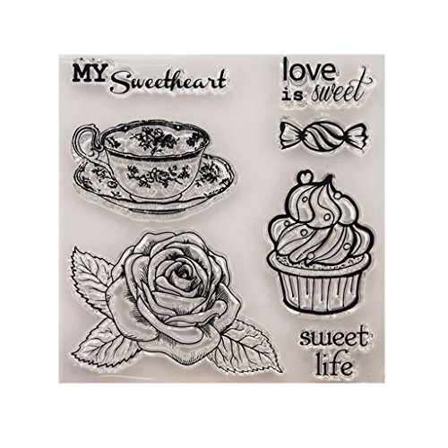 ❤JaneMo New Arriving Clear Stamps Teacup Rose Cake Transparent Silicone Clear Rubber Stamp Cling Diary Scrapbooking DIY Art Craft Decoration