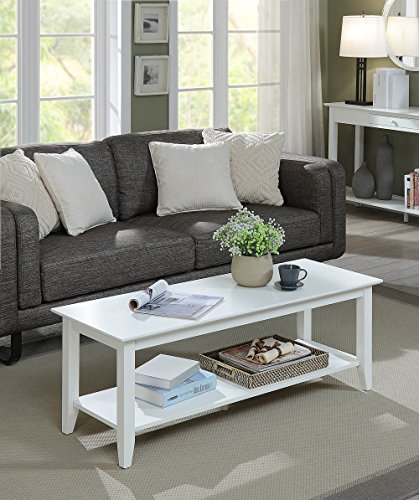 Convenience Concepts 7104088W American Heritage Coffee Table, White - Heritage White Coffee