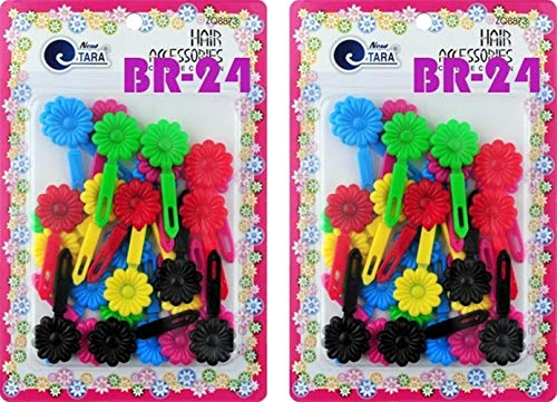 Tara Girls Self Hinge Plastic Bow Hair Barrettes Selection Pack Of 2 (BR24) ()