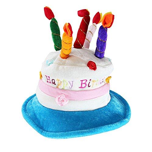 Premium OEM Adult Deluxe Happy Birthday Cake Hat With Candles - 1 Pc -
