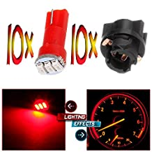 CCIYU 10x Twist Socket T5 73 74 led 3-3014SMD Instrument Cluster Dash Light Bulbs Red T5 17 18 37 70 206 207 286 306 2721 For 2005-2011 Toyota Matrix Camry Avalon etc