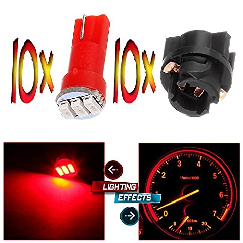 CCIYU 10x Twist Socket T5 73 74 led 3-3014SMD Instrument Cluster Dash Light Bulbs Red T5 17 18 37 70 206 207 286 306 2721 For 2005-2011 Toyota Matrix Camry Avalon (2002 Civic Dash Kit)