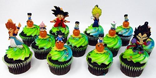 Dragon Ball Z 12 Piece Random Birthday Cupcake Topper Set Featuring 12 Random Dragon Ball Z Character Figures