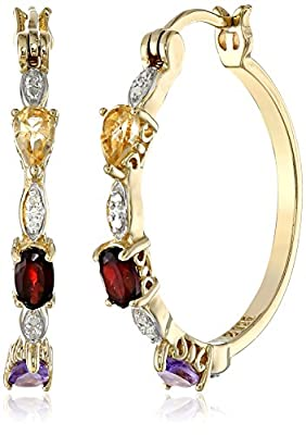 """18k Yellow Gold Plated Sterling Silver Multi-Gemstone and Diamond Accent Hoop Earrings (1.0"""" Diameter)"""