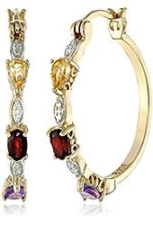 """18k Yellow Gold-Plated Sterling Silver Multi-Gemstone Hoop Earrings (1.0"""" Diameter)"""