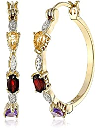 18k Yellow Gold Plated Sterling Silver Genuine Multi Gemstone and Diamond Accent Hoop Earrings
