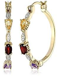 "18k Yellow Gold Plated Sterling Silver Multi-Gemstone and Diamond Hoop Earrings (1.0"" Diameter)"