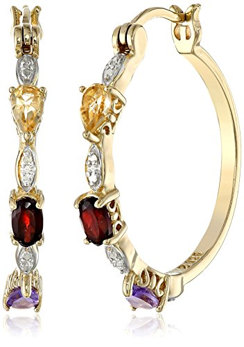 Citrine And Earrings Diamond (18k Yellow Gold Plated Sterling Silver Genuine Multi Gemstone and Diamond Accent Hoop Earrings)
