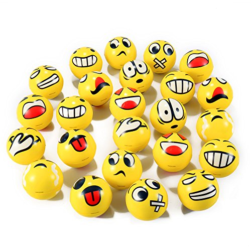 Stress Ball Game (Set of 24 Emoji Face Yellow Foam Soft Stress Novelty Toy Balls (3)