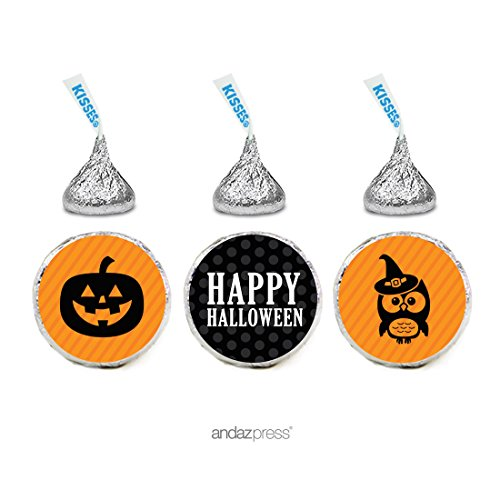 Andaz Press Classic Black and Orange Halloween Party Collection, Chocolate Drop Labels for Hershey's Kisses Party Favors, 216-Pack -