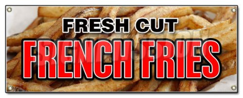 FRESH CUT FRENCH FRIES BANNER SIGN frys crispy hot potato FF made chips steak