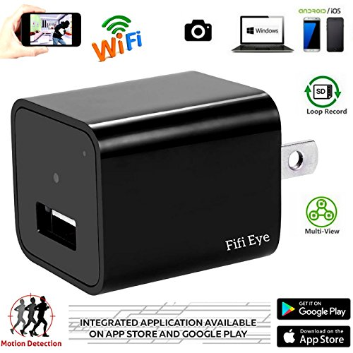 Wifi Wireless P2P 1080P HD Wall Charger Hidden Mini Nanny Spy Camera,Motion Detection Activated,Support IOS iPhone and Android APP, Remote Control ,Live Video.For Home Security,By Fifi Eye.