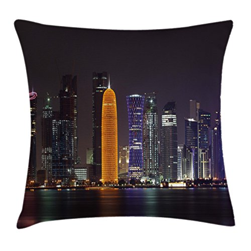 Urban Throw Pillow Cushion Cover by Ambesonne, Qatar Middle East Town with Luminous Skyscraper at Night Arabic View, Decorative Square Accent Pillow Case, 40 X 40 Inches, Charcoal Grey Purple - Town Square East