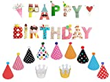 Happy Birthday Decorations Bundle - Colorful Banner, Hats and Crown set for Kids