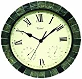 Poolmaster 52606 Outdoor Clock, Thermometer and Hygrometer Combo, 15-Inch Diameter, Faux Finish