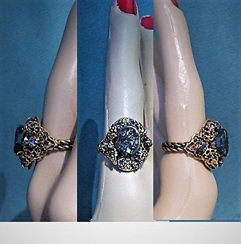 1 Brass Victorian Cameo Ring, 1920s Hand Carved Jasper Bloodstone Centurion, Rhinestone Czechoslovakia 1940s Adjustable 4.5-7 Ring ()