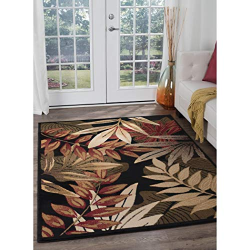 (Ln 5x7 Red Green Tropical Trees Area Rug Rectangle Shaped, Indoor Beige Yellow Paisley Carpet for Living Room Floral Flowers Nature Garden Leaves Wilderness, Polypropylene)