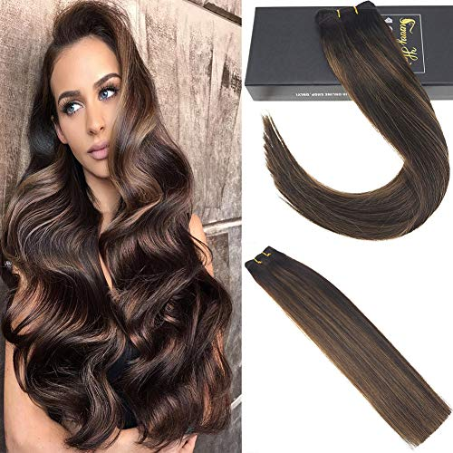 Sunny Balayage Brown Bundles Human Hair 16inch 7A Brazilian Straight Weft Hair One Bundles 100g Unprocessed Remy Human Hair Weft Sew In Extensions