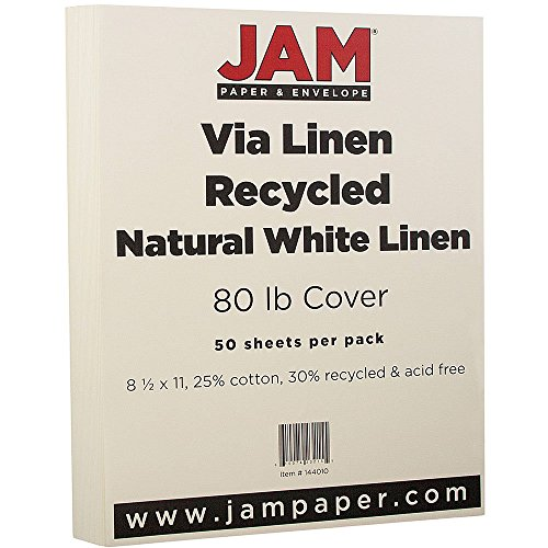 Ivory Linen Cardstock (JAM Paper Strathmore Cardstock - 80 lb Natural White Linen - 30% recycled - 50 Sheets/Pack)