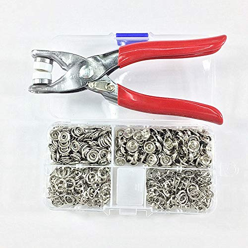 100 Sets Silver 9.5mm Metal Prong Open-Ring Snap Buttons Fasteners Press Studs Poppers Baby Romper Buckle Snap + Pliers