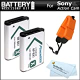 2 Pack Battery Kit Bundle For Sony HDRAS100V/W, HDR-AS100VR HDR-AS10, HDR-AS15 HDR-AS30V HDR-MV1 HDR-AS200V, FDR-X1000V POV HD Action Camcorder Includes 2 Replacement (1600Mah) NP-BX1 Batteries + More
