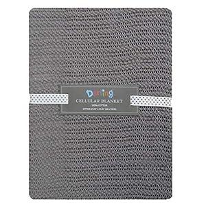 100% Cotton Baby Cellular Soft Blanket for Crib Cot Prams Moses Basket 60x90cm (Grey)