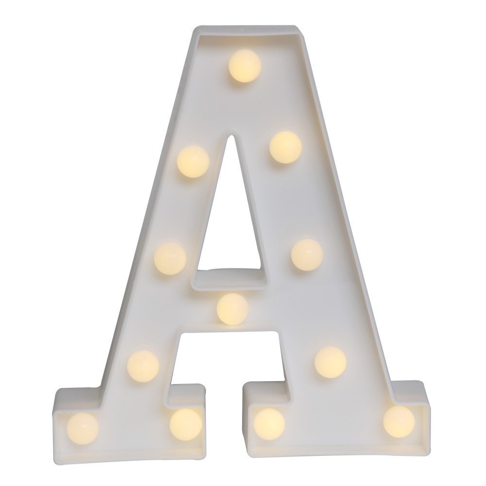 HiveNets LED Decorative Light up Alphabet Letters for Birthday Wedding Party Bar Bedroom Wall Hanging Decor (L)