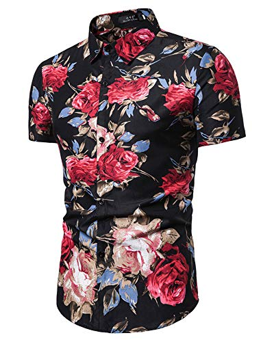 (HaoDong Mens Casual Flower Shirts - Button Down Short Blouse Summer Print Tops Black L)