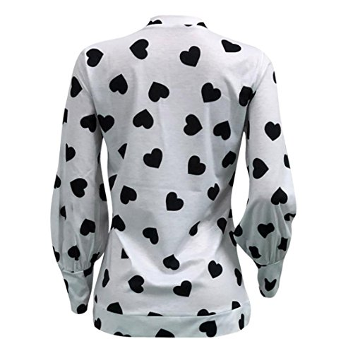 Tops Sweat Manches Chemisie D'amour Longues Shirt Pull Toamen Impression Blanc Over Coeur Femmes paRaxT
