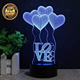 Best Children Gifts - 3D Valentines Love Night Light, Touch Table Desk Review