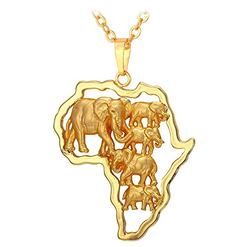 U7 Africa Map Pendant With Elephant Design 18KGP Stamp Gold Plated Chain African Style Ethiopian Jewelry Pendant -