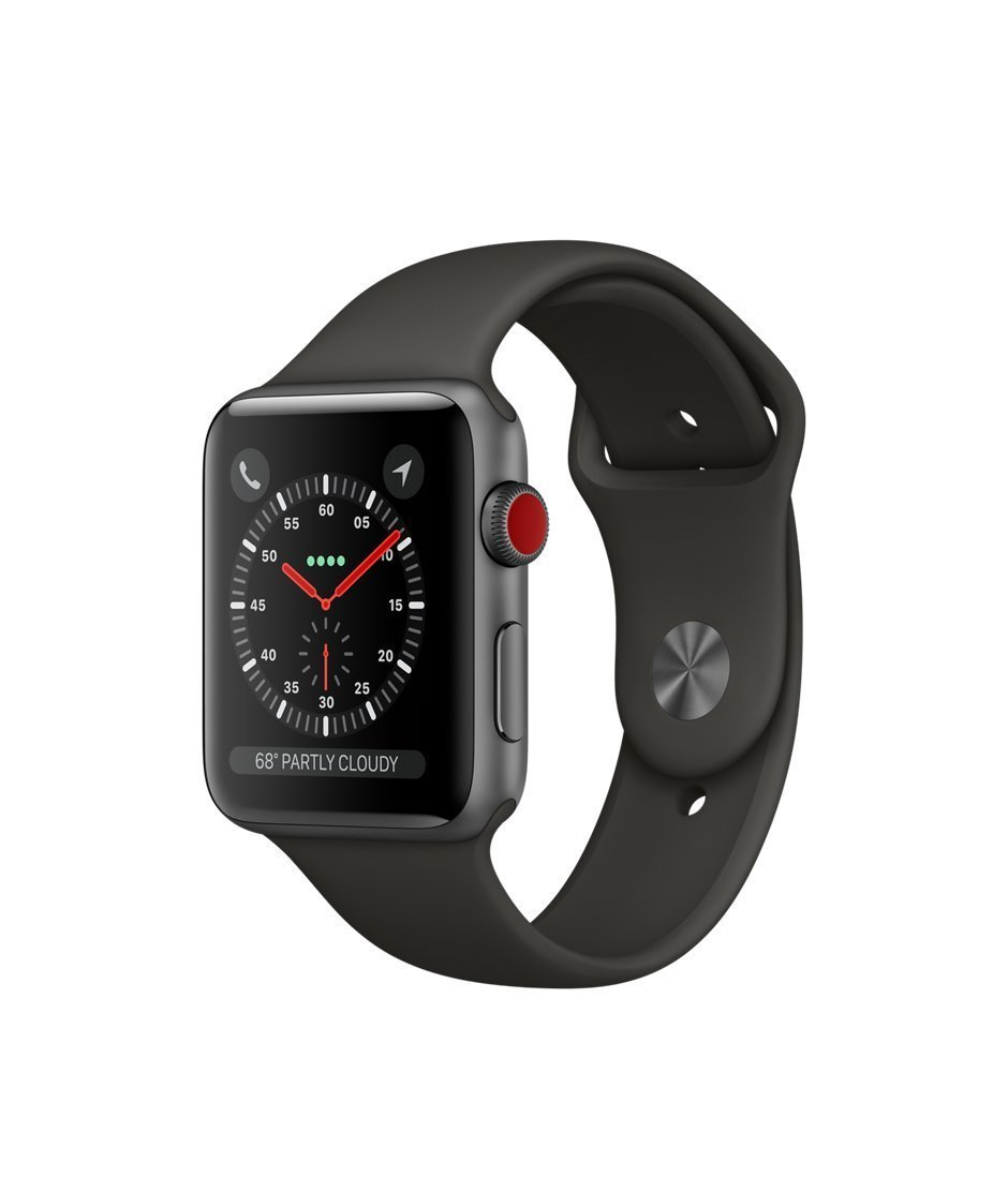 Apple watch series 3 Aluminum case Sport 42mm GPS + Cellular GSM unlocked (Space Gray Aluminum case with Black Sport Band) by Apple