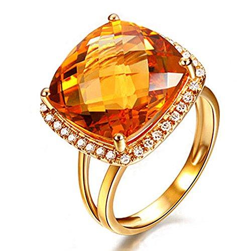 Fashion Women Yellow Citrine Gemstone Diamond Solid 14K Yellow Gold Natural Ring Settings Band Jewelry by Kardy