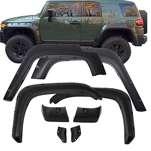 Fender Flares Fits 2007-2015 Toyota FJ Cruiser | Front Rear Right Left Sanded Wheel Cover Protector 4PC ABS by IKON MOTORSPORTS | 2008 2009 2010 2011 2012 2013 - Trd Cruiser Fj