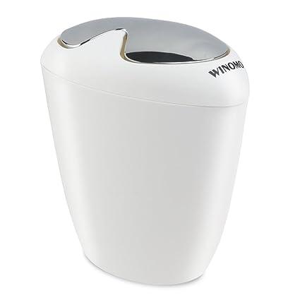Amazoncom WINOMO Bathroom Trash Can Liter Gallon Trash - White bathroom trash can