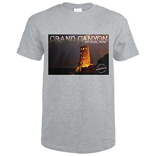 Lantern Press Grand Canyon National Park, Arizona - Watchtower (Sport Grey T-Shirt - Arizona Watch Sport