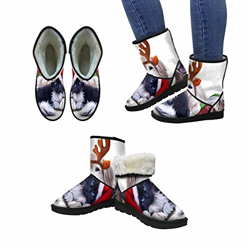 InterestPrint Womens Snow Boots a Dog, a Cat and a Snowman Unique Designed Comfort Winter Boots Multi 1