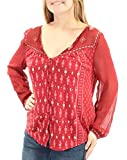 Lucky Brand Women's Border Print Top, Red/Multi, X-Small