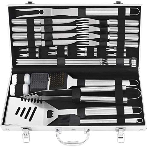 grilljoy 29PCS Heavy Duty Grilling Tool Set. Extra Thick Stainless Steel Spatula, Tongs, Steak Knife and Fork. Complete Grill BBQ Accessories in Aluminum Storage Case. Dishwasher Safe.